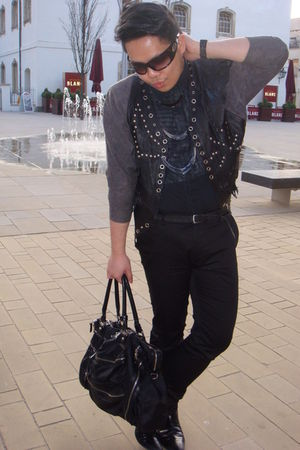 black vintage jacket - black H&amp;M shirt - black Topman pants - silver warehouse n