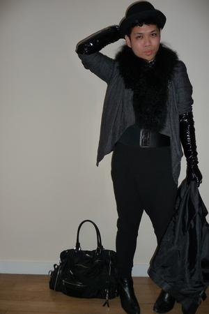 gray Zara jacket - black D & G purse - black scarf - black Zara hat - black Zara