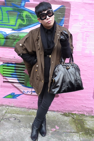 green Gucci coat - black All Saints cardigan - black H&M jeans - black Stephen C