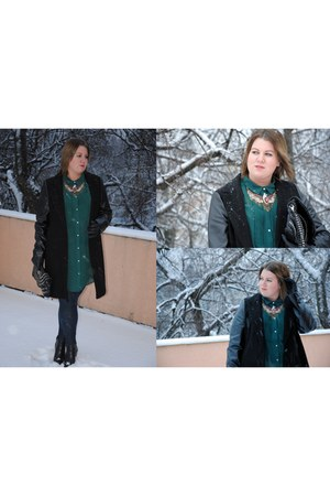 black F&F coat - dark gray H&M leggings - forest green H&M blouse