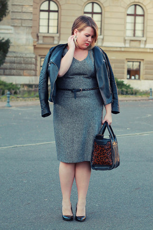 black H&M jacket - heather gray Hobbs dress - black Zara bag