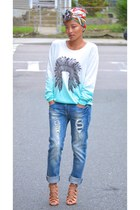 light blue boyfriend jeans Zara jeans - light orange lace up Schutz heels