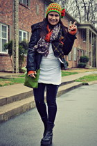 black leather romeo & juliet coat - tank Juicy Couture shirt - Tasha scarf