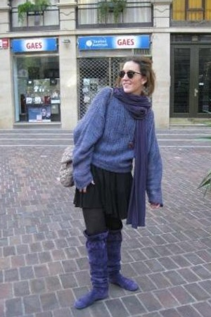 hakei shoes - vintage sweater - Purificacion Garcia purse - hakei dress