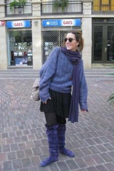 hakei shoes - vintage sweater - Purificacion Garcia purse - hakei dress