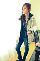 DKNY jacket - denim American Eagle jeans - zip-up DKNY sweatshirt