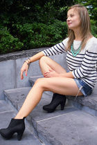 white Zara blouse - blue abercrombie and fitch shorts - black River Island boots