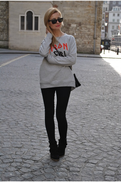 black Topshop jeans - heather gray rika sweatshirt