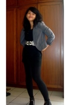 blazer - thrifted blouse - dress - belt - leggings - boots