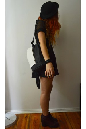 Topshop boots - Tomtop dress - H&M hat - Primark bag