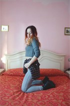 black H&M boots - high waisted H&M jeans - flannel brandy melville shirt