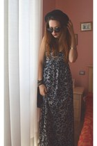 black H&M hat - maxi flowers Bershka dress - Bershka bag