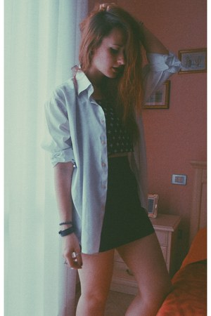 white white vintage shirt - Topshop ring - H&M top - H&M skirt - infinitine ring