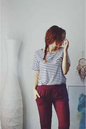 burgundy Primark pants - striped Newdress top - black Primark heels