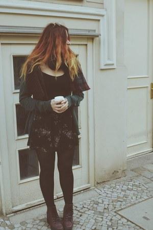 Topshop boots - tartan Primark scarf - floral thrifted vintage skirt