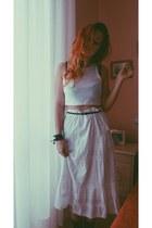 white vintage skirt - crop top H&M top