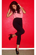 pink vintage top - black vintage pants - black Vince Camuto shoes