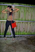 black f21 pants - brown f21 top - red vinage purse