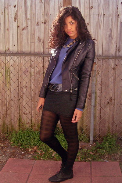 black TJ Maxx jacket - blue thrifted sweater - gray Forever 21 skirt - silver Fo