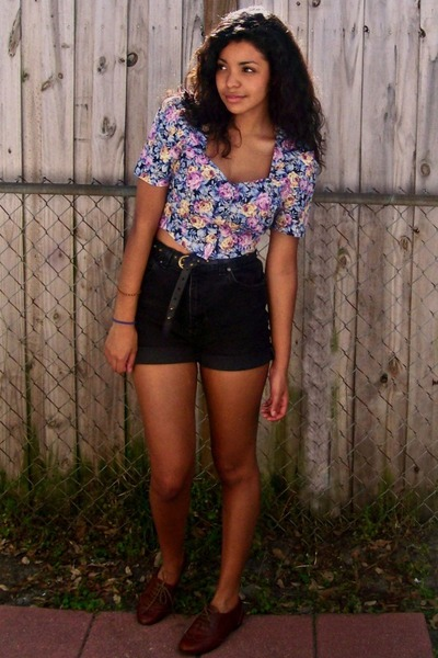 black thrifted shorts