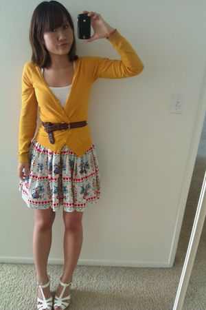 white top - white Forever 21 shoes - yellow basic cardigan H&M sweater