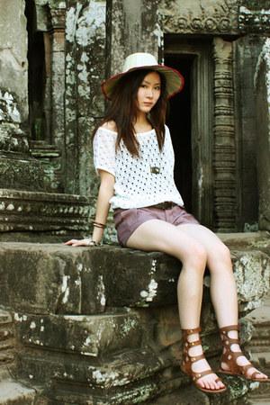 cream palm leafs hat - brown rachel roy Gladiator sandals