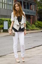 white Jacob jeans - aquamarine pink martini blazer - tan Michael Kors bag