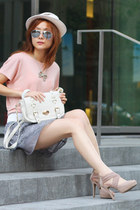 heather gray Ray Ban sunglasses - light pink Jacob shirt - periwinkle sogo skirt