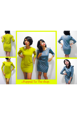 blue popped to the shop dress - gold popped to the shop dress