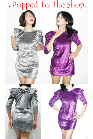 purple popped to the shop dress - silver popped to the shop dress
