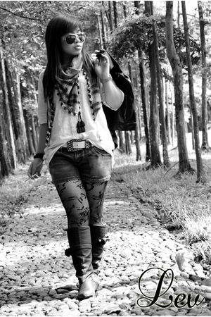 black leather jacket - black shorts - black stockings - white scarf - brown scar