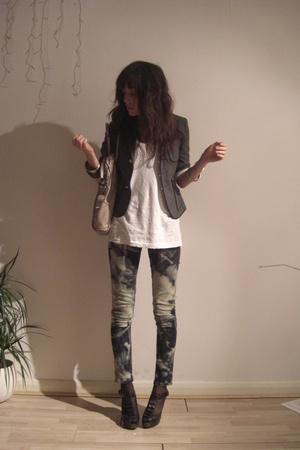 gray Topshop blazer - black diy bleached jeans - white 1 shop top