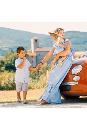 0ba1472c0e Mom Girl Solid Color Off-Shoulder Falbala Matching Dress