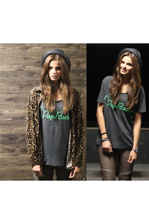 leopard blouse Denim & Supply blouse - leather pants Tigha pants