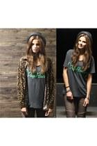 leopard blouse Denim & Supply blouse - leather pants Tigha pants