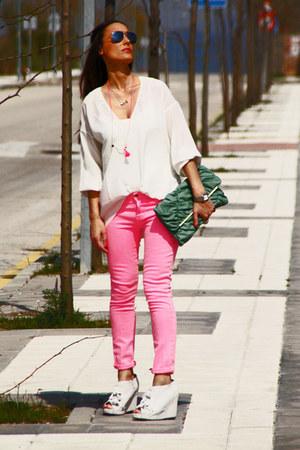 Jeffrey Campbell heels - Zara jeans - Primark bag - Zara blouse