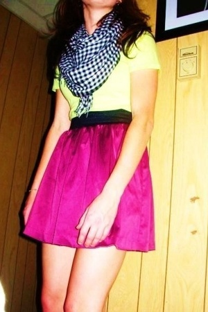 ae scarf - PacSun t-shirt - Charlotte Russe skirt