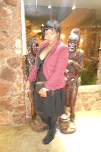 maroon cotton on jacket - lbd dress - clutch bag - black stockings