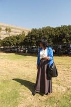 charcoal skirt - cobalt blue blazer - black ankle wedges - white blouse