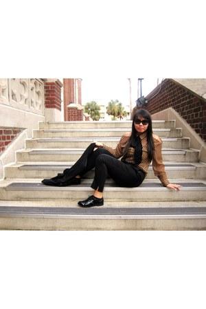 camel Forever 21 blouse - black H&M shoes - black H&M pants
