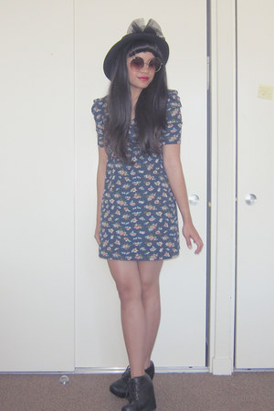 black wool vintage hat - black 99 tie Jeffrey Campbell boots - navy floral dress