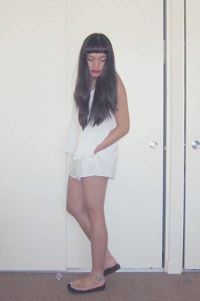 white chiffon romwe shorts - white chiffon swing Forever 21 top