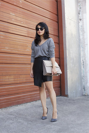 double v neck Zara sweater - Chloe bag - Steve Madden heels