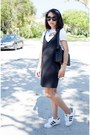 Zara-dress-chanel-bag-karen-walker-sunglasses-adidas-sneakers