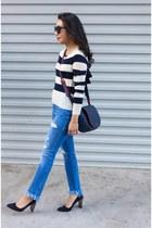 Zara jeans - navy Chelsea28 sweater - blue deux lux bag