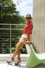 Maroon-baroque-prada-sunglasses-tan-bebe-skirt-red-zara-blouse