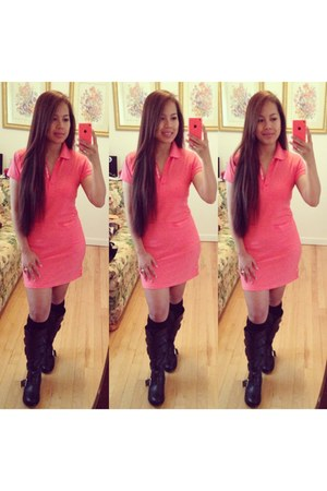 black Shoedazzle boots - salmon Lacoste dress