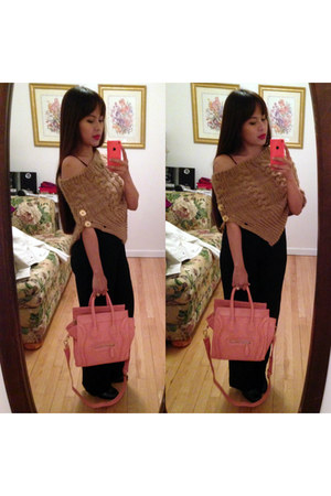 bubble gum OASAP bag - cable knit Michael Kors scarf
