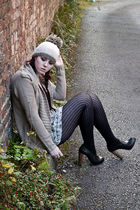 asos hat - new look dress - asos cardigan - falke tights - TOPSHOP Premium shoes
