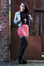asos skirt - Topshop boots - denim Republic jacket - ribboned back asos tights
